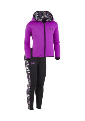 Under Armour 2-Piece Full Zip Hoodie And Pants Set - Purple Rave - 12 Months