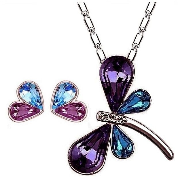 Dragonfly Crystal Necklace & Earrings. $17.99