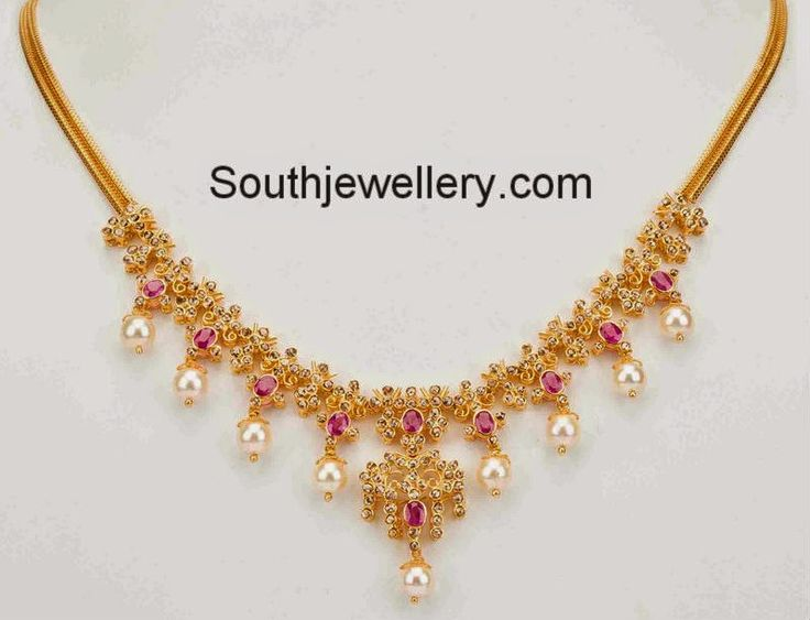 Simple 22 carat gold light weight necklace studded with uncut diamonds, rubies and south sea pearl drops. Gross Weight: 33 grams