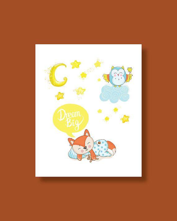 Fox Nursery Art Print  Baby Fox Dream Big by HappyLittleBeans