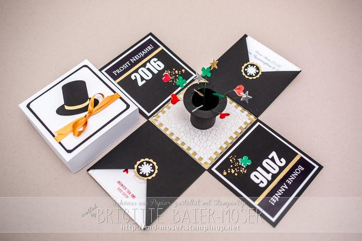 Neujahrs-Explosionsbox mit Zylinder und Glückssymbolen. Gestaltet von Brigitte Baier-Moser mit den Werkzeugen von Stampin'Up!