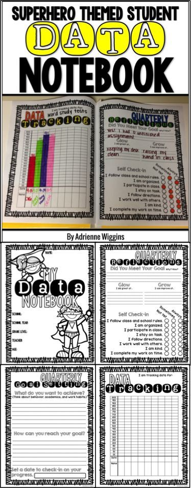 Superhero themed data notebook for students to track their own data for growth. Built in reflections and goal setting! 2nd-5th grade. Great for data notebooks or binders!