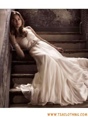 strapless sweetheart A-lijn chiffon trouwjurk kapel trein