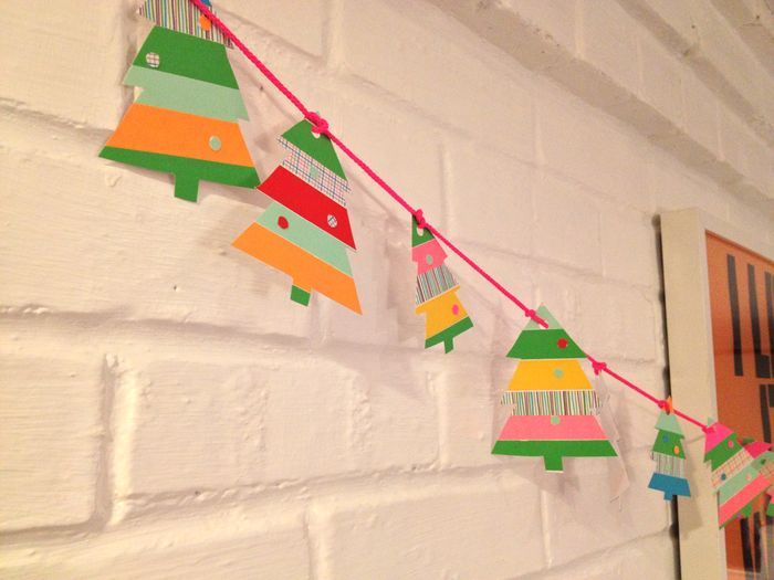 Washi Tape Garland.   Could try round ornaments, mittens and stars...maybe use punches?