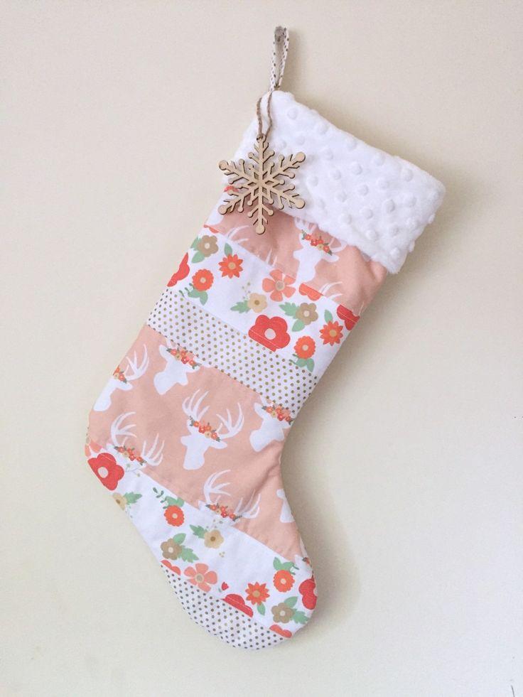 Christmas Stocking. Baby Girl Stocking. Babys First Christmas. Girl Deer Stocking. Christmas Gift. Gold Christmas Decor. by maxandgrace on Etsy https://www.etsy.com/listing/255412430/christmas-stocking-baby-girl-stocking
