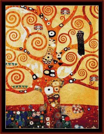 Klimt - Árbol de la Vida. Designed by Kathy George, Cross Stitch Collectibles, 2007© 350x475 puntos. Punto de cruz entero, a bordar con 2 cabos de hilo. Se recomienda bordar sobre Aida-55 blanca.