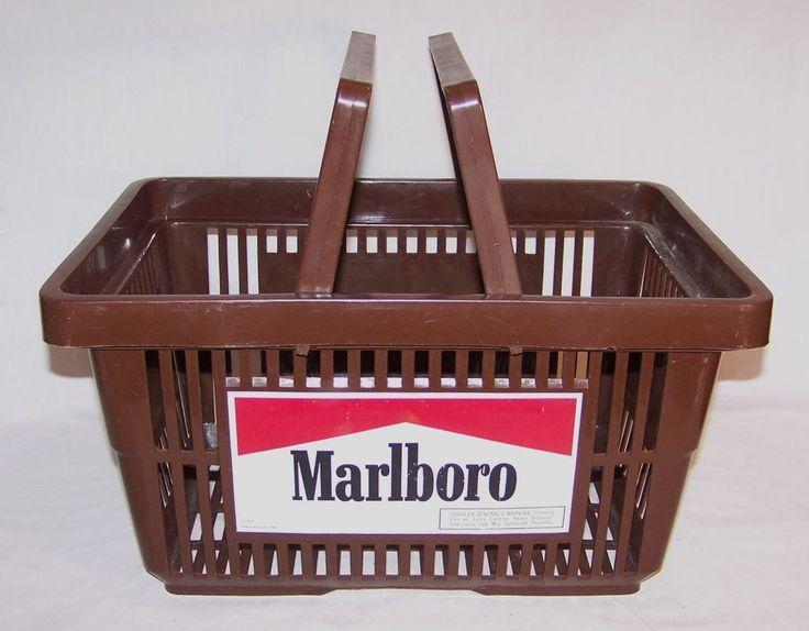 MARLBORO - Plastic Brown Shopping Basket - Supermarket Tobacco Advertising #Marlboro
