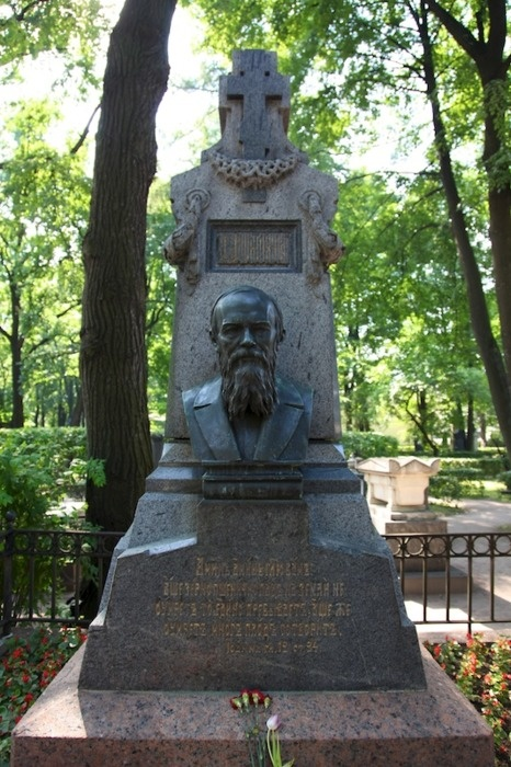 Dostoyevsky's grave, St. Petersburg   Dostoyevsky was interred in the Tikhvin Cemetery at the Alexander Nevsky Convent, near his favourite poets Karamsin and Zhukovsky