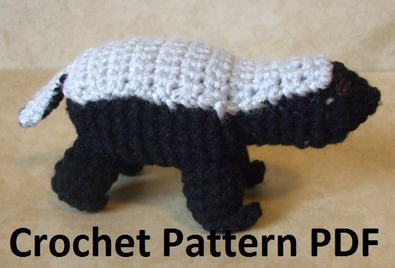Honey Badger Crochet Pattern by CraftFrogPatterns on Etsy https://www.etsy.com/listing/106517724/honey-badger-crochet-pattern