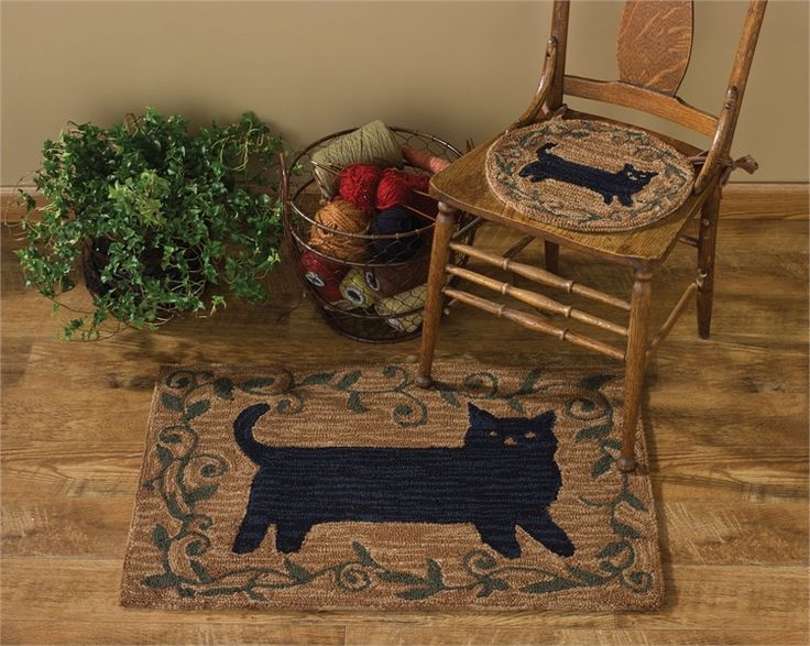 The Country Porch Home Decor Features Cat Hooked Chair Pad From Park Designs