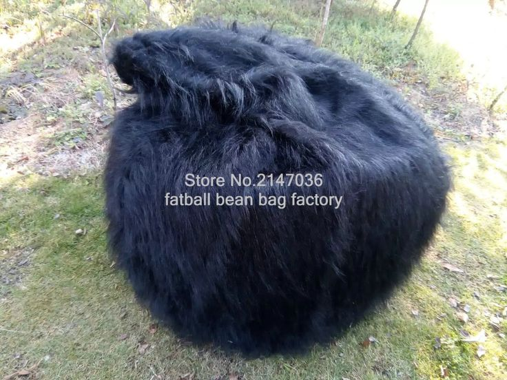 LUXURY SHAGGY FUR BEAN BAG Cover Chair Large New Bean Bag -Great Xmas Gift!!!! black long fur beanbag lounger