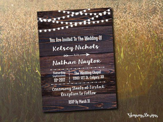 Rustic Wood Wedding Invitation Printable // Globe Lights Invite Set // DIY Invitation Kit // Fairy Light Invitation Template // Fall Wedding
