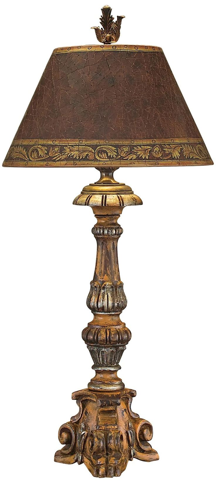 John richard hand carved wood candlestick table lamp