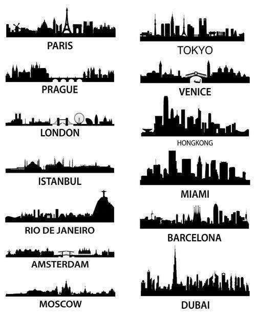 Lugares del mundo en silueta.