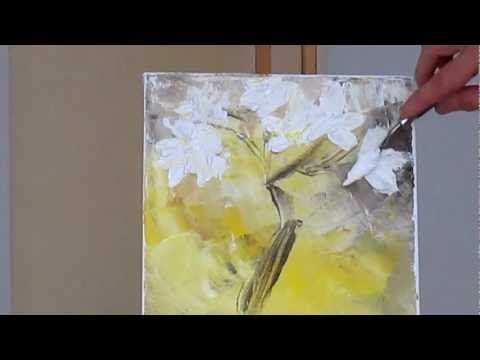Tanja Bell How to Paint White Blossom Tutorial Palette Knife Painting Technique - YouTube