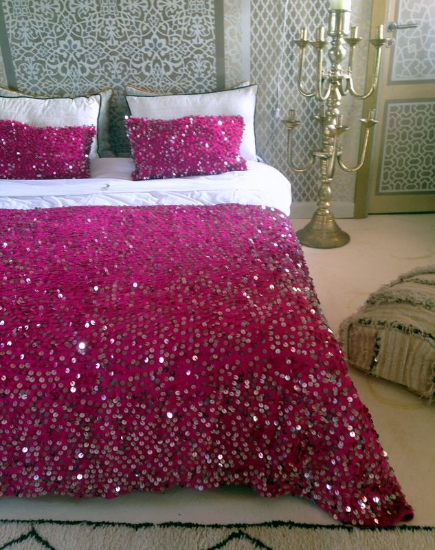 ooh gorgeous hot pink Moroccan Wedding Blanket and cushions.  An M.Montague design!  Bohemian chic!