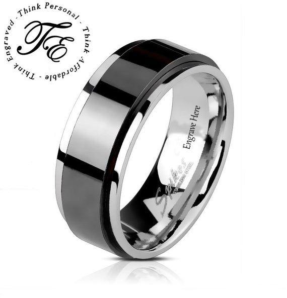 Men S Wedding Ring Band Spinner Black And Silver Stainless Etsy Promise Rings For Guys Mens Wedding Rings Black Rings Mens Wedding Bands