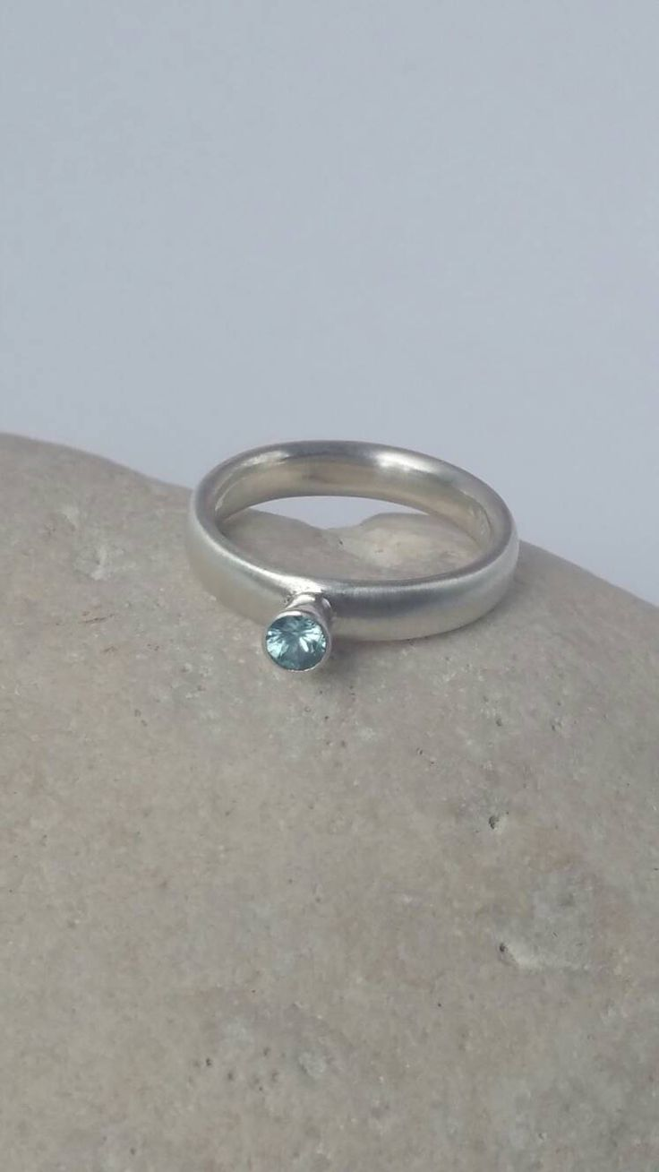 Sterling silver solitare ring, blue zircon solitare ring, contemporary solitaire ring, modern gem set solitaire ring, stylish  blue gem ring by CMFDesignsJewellery on Etsy
