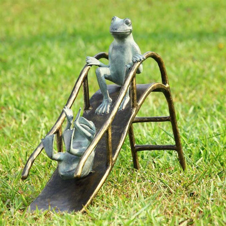 spi garden collection sliding frogs garden sculpture
