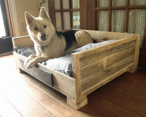 Make a kool doggie bed (or three) out of old pallets or barn board. Add doggie cushion and a chalk board sign for who owns it and you're good ta go.......D.