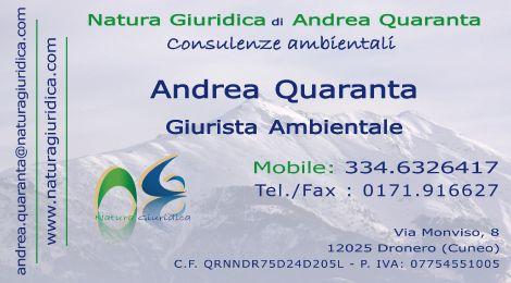 Biglietto da visita di Andrea Quaranta, titolare di Natura Giuridica