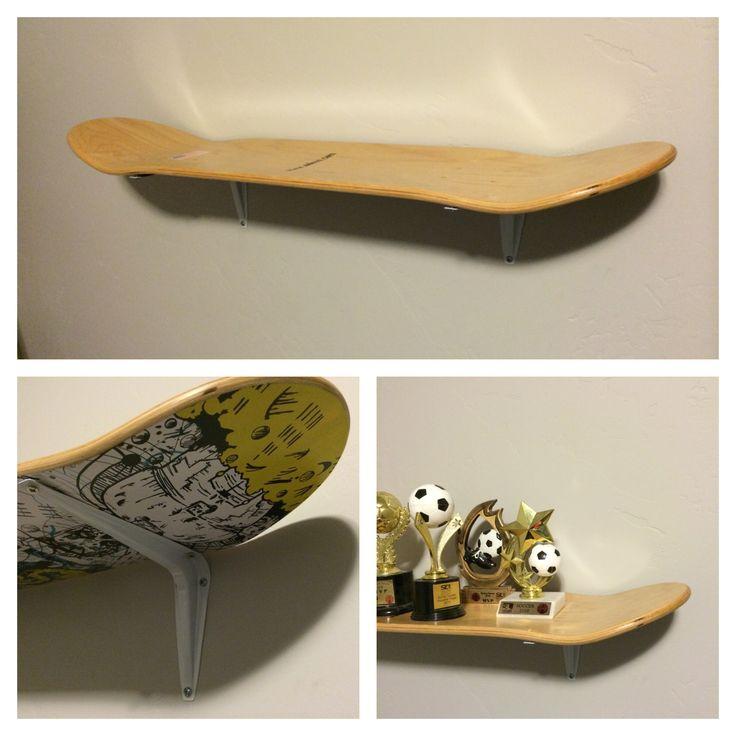 Skate board shelf. Made from a cheap skateboard deck and some shelf brackets from Lowe's. #shelf #skateboard #boysroom