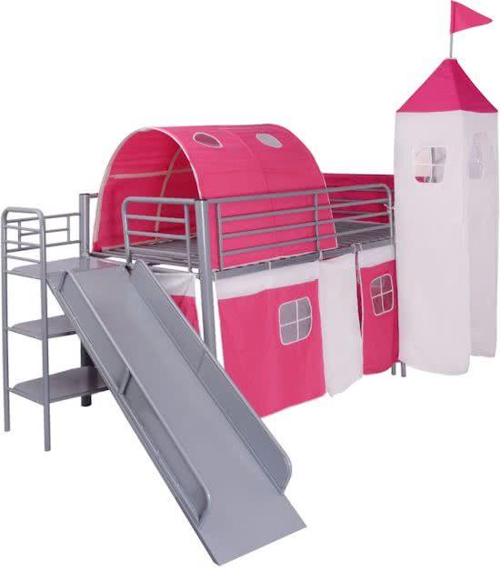 vidaXL Hoogslaper met glijbaan en ladder staal roze kasteelthema 200x100 cm