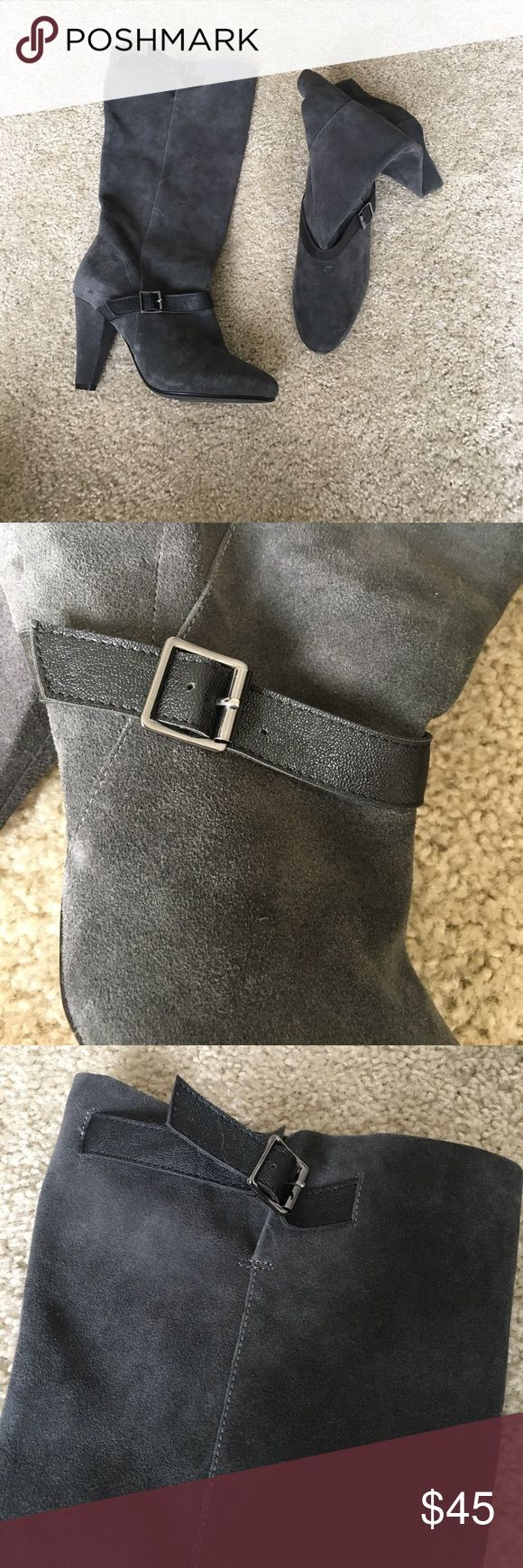 Gray suede slouchy boot Size 8, 3 inch heel. These boots have never been worn outside, great condition. The suede boots have a slouchy fit and fit right on the calf, they do not go all the way up to the knee. There are two buckle details right below the ankle and then right at the top of the boot. I purchased these at Victoria's Secret online boutique when they regularly sold clothes and shoes Shoes Heeled Boots