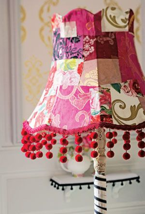.bits of Designers Guild fabric and trim made into a lamp shade
