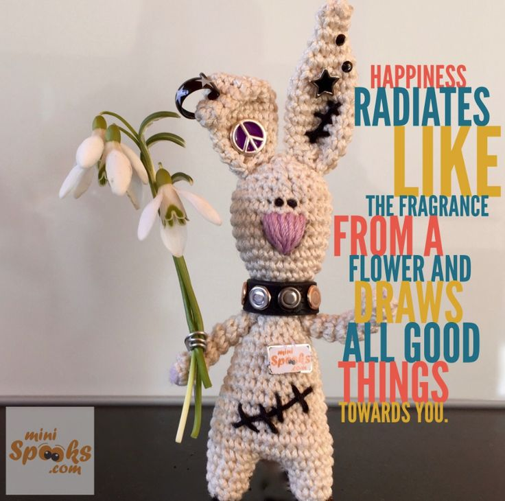Happiness radiates like the fragrance from a flower and draws all good things towards you. ‪#‎minispooks‬ ‪#‎crochet‬ ‪#‎amigurumi‬ ‪#‎rabbit‬ ‪#‎quote‬ ‪#‎happiness‬ ‪#‎fragrance‬ ‪#‎flower‬ ‪#‎goodthings‬ ‪#‎you‬