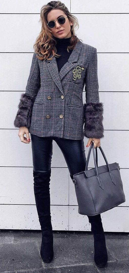 #winter #fashion //  Grey Blazer // Black Turtleneck Knit // Leather Leggings // Grey Leather Tote Bag // Black Suede Booties