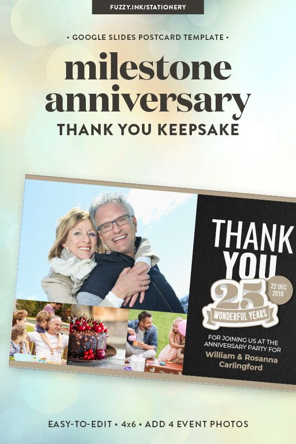 25th Anniversary Thank You Postcard Template For Google Slides Instant Download Thank You Postcards Birthday Thank You Cards Postcard Template