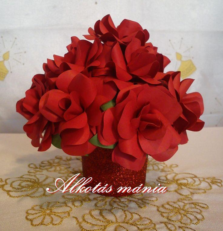 piros#papír#rózsa#csokor