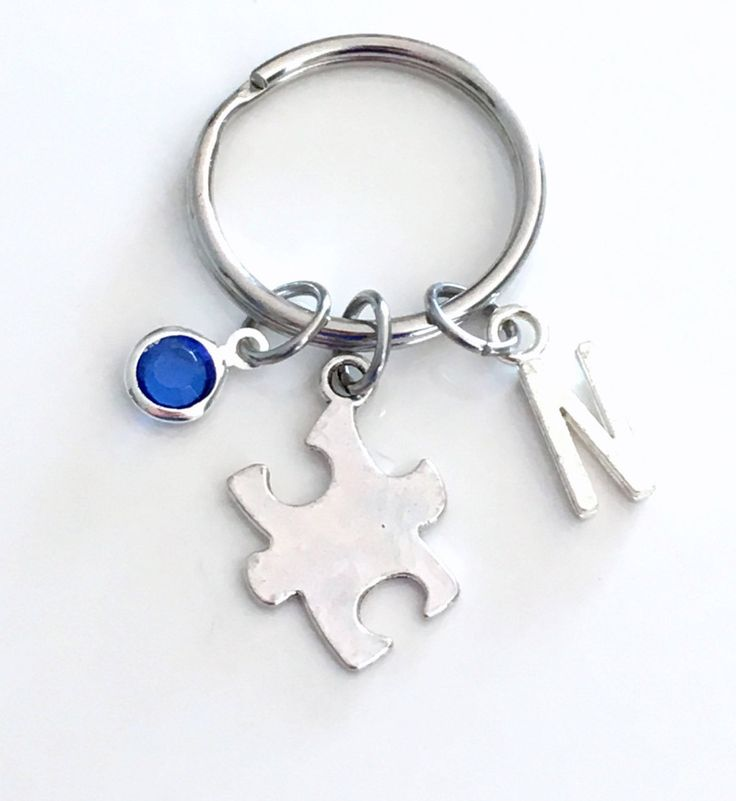 Puzzle Piece KeyChain Gift for Awareness Keyring Autistic Mother Jigsaw Key chain Jewelry charm Silver Initial Birthstone birthday present by aJoyfulSurprise on Etsy