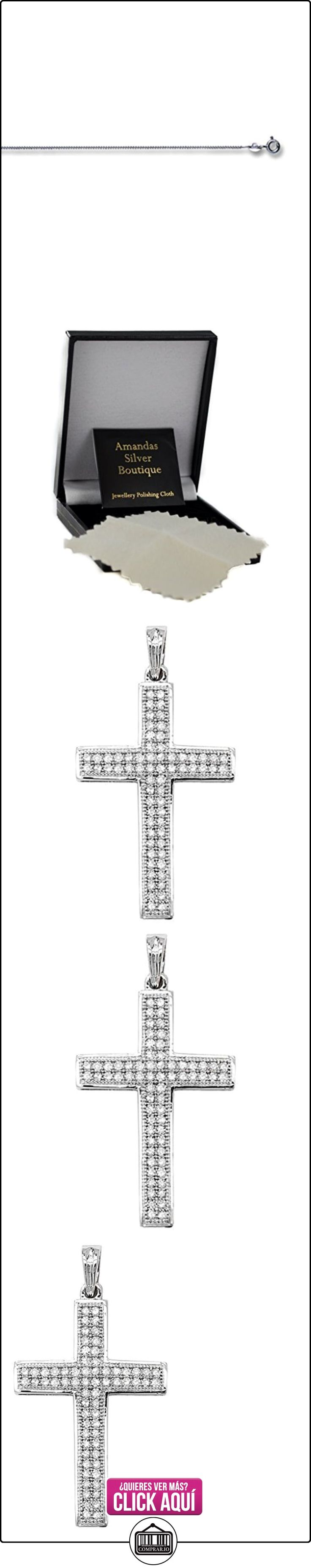 Hombre 9ct oro blanco Pave Set Diamond Colgante Cruz 0.25ct sobre la acera de collar  ✿ Joyas para hombres especiales - lujo ✿ ▬► Ver oferta: https://comprar.io/goto/B00KUCF50S
