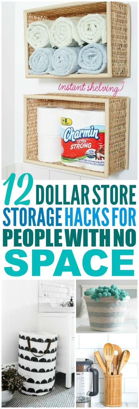 These 12 Dollar Store storage hacks are THE BEST! I'm so happy I found these GREAT dollar store organization ideas! Now I have some great ways to organize and store things using the dollar store! Definitely pinning! #dollarstore #dollarstoreorganization #dollarstorestorage #dollarstorehacks