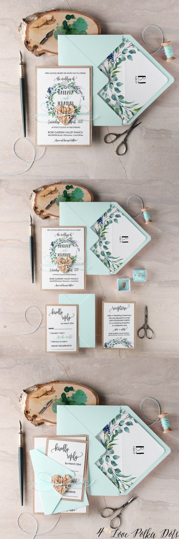 Greenery watercolor wreath wedding invitations #greenerywedding #weddingideas #bohowedding