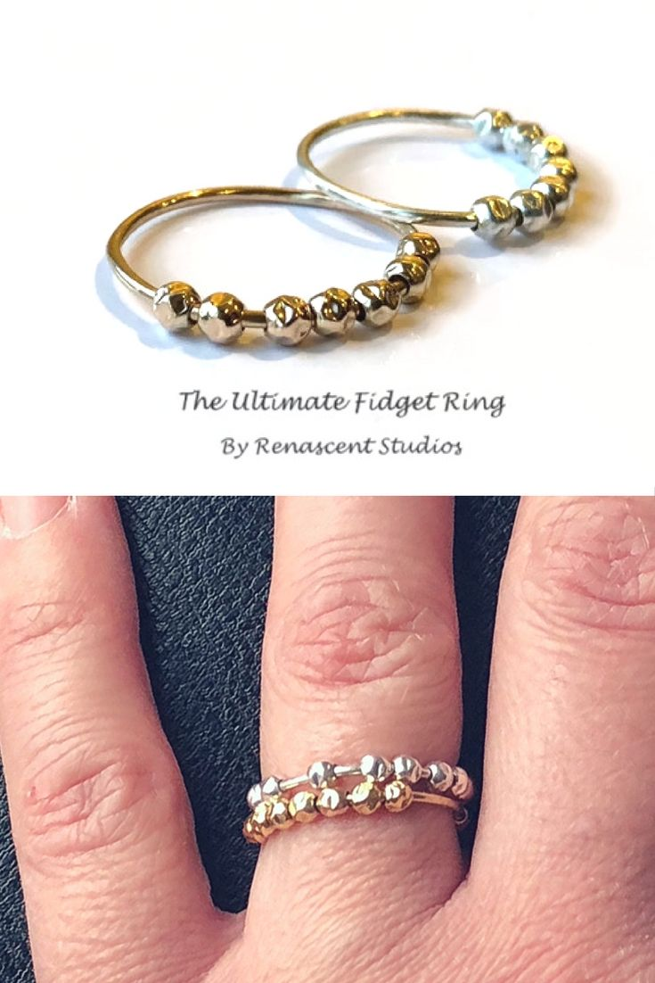 These are the ultimate fidget rings for women! Made with 7 orbiting hammered beads, a mix of texture that is soothing to the touch. Perfect for stacking with a minimalist style. Click the pic to check them out 😀