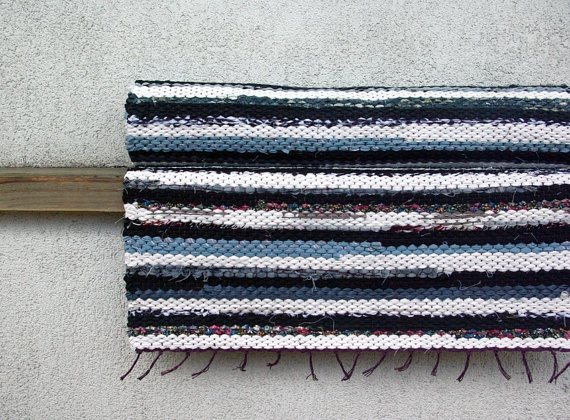 Woven Rag Rug  gray black white 164' x 728' by dodres on Etsy, $58.00