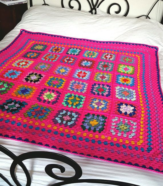 IN STOCK Striking Granny Squares Shocking Pink by Thesunroomuk