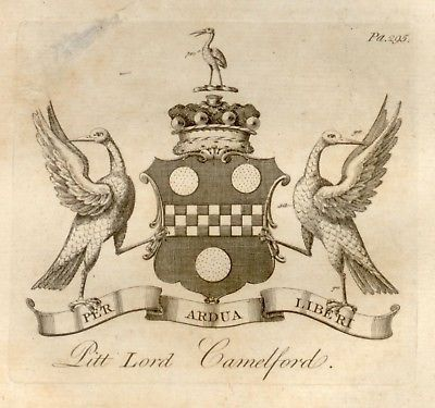 Peerage of England -1779- PITT LORD CAMELFORD - Copper Engraving