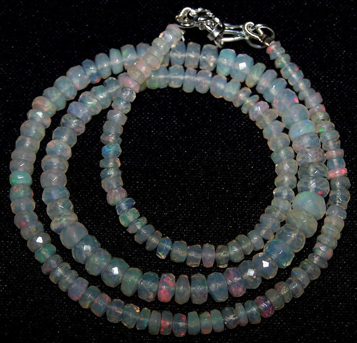 """41ct Metallic Fire Ethiopian Welo White Opal Faceted 3.5-5.5 MM Necklace 17 """" NR"""