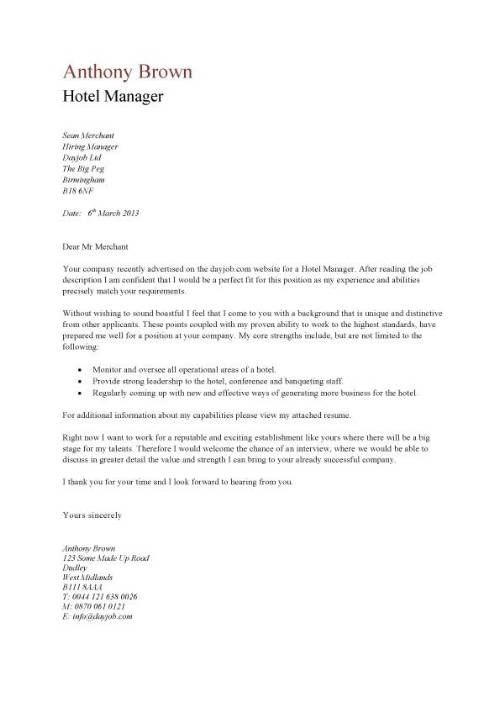 Cover Letter For A Hotel Job - Ibov.jonathandedecker throughout ...