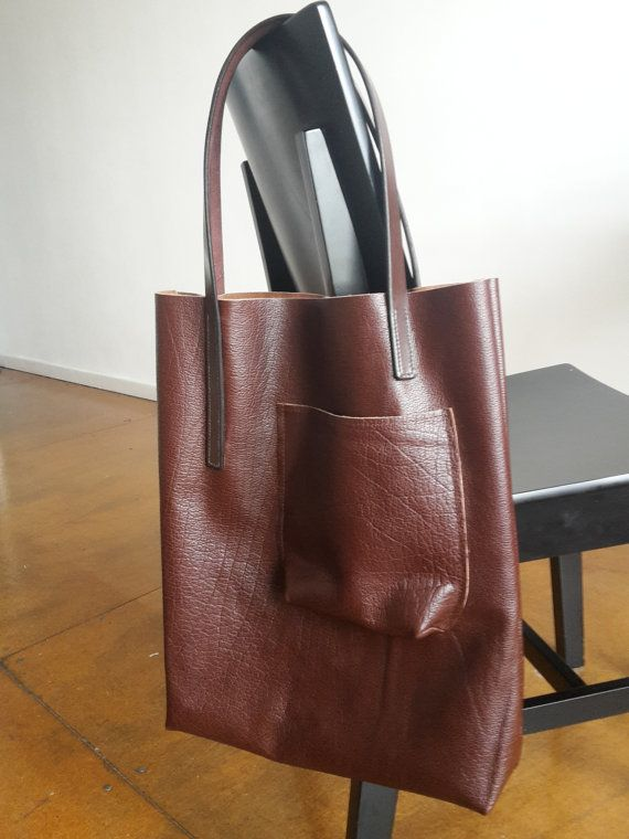 Borsa in pelle marrone oversize Tote Bag di SmallLeatherGood