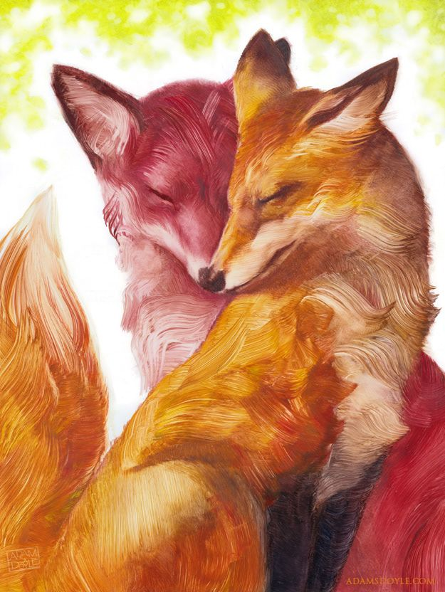 Pair of foxes painting