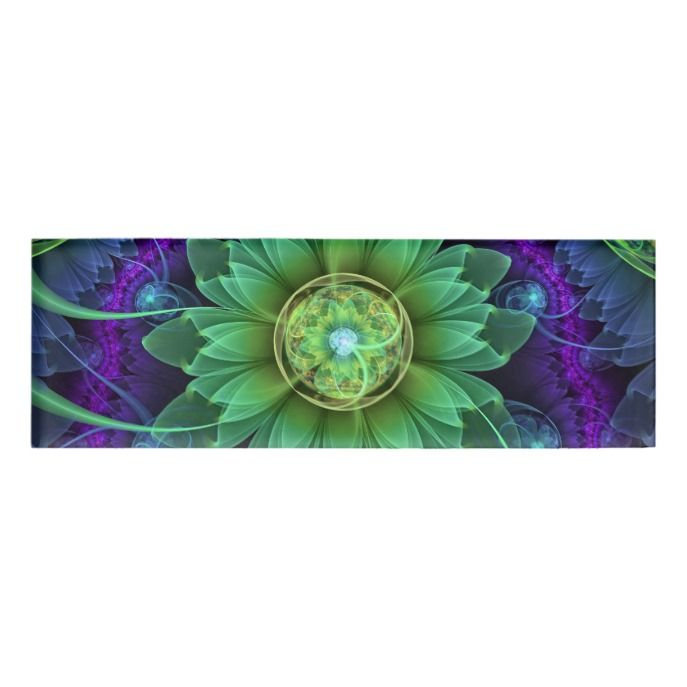 Blue And Green Pandoran Snap Lotus Fractal Flower Name Tag Custom
