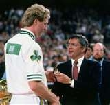 Larry Bird receives his ring from NBA Commisioner David Stern during the 1984 NBA Championship Ring Ceremony