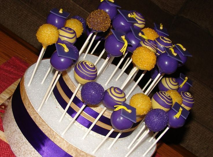 Purple And Gold Graduation Cake Pops  on Cake Central