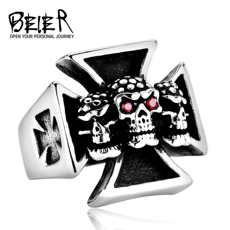 Fine Jewelry Punk Man's Cool Cross Skull Ring Titanium Steel Man's High Quality Red Eye Skull Ring For Boy BR8-214