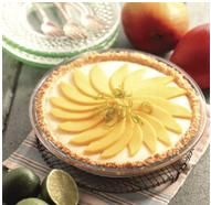 Pie de limón y mango  La harina la pueden sustituir por harina libre de gluten.  En vez de gelatina sin sabor en sobre  pueden utilizar la gelatina en lámina y la crema agria se puede sustituir por crema dulce o leche evaporada  http://www.contigosalud.com/pie-de-limon-y-manga